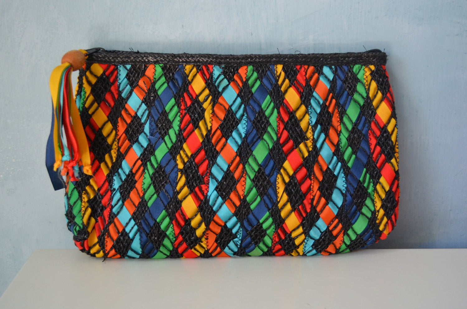 Spring Multi Colored Woven Ribbon & Nylon Handmade Beach Oversized Clutch Sportswear Resort