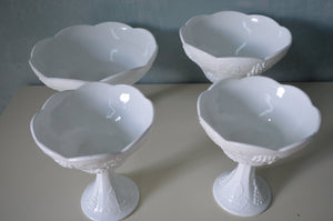 White Milk Glass Grapes & Leaves Pedestal Bowl 4 Dish Planters-Goblet-Vase-Wedding Centerpiece Set