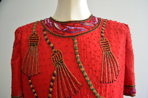Laurence Kazar Tassel Sequined Tassel Red Top Blouse Size Xl Gold Red Black