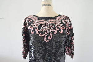 Raglan Black Floral Pink Roses Arabesque Design Sequined Beaded Silk Top Blouse Style Fall 2017