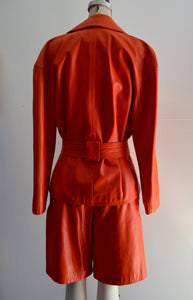 80S Lillie Rubin Coral Leather Matching Set Suit High Waist Shorts & Trench Coat Cropped Batwing