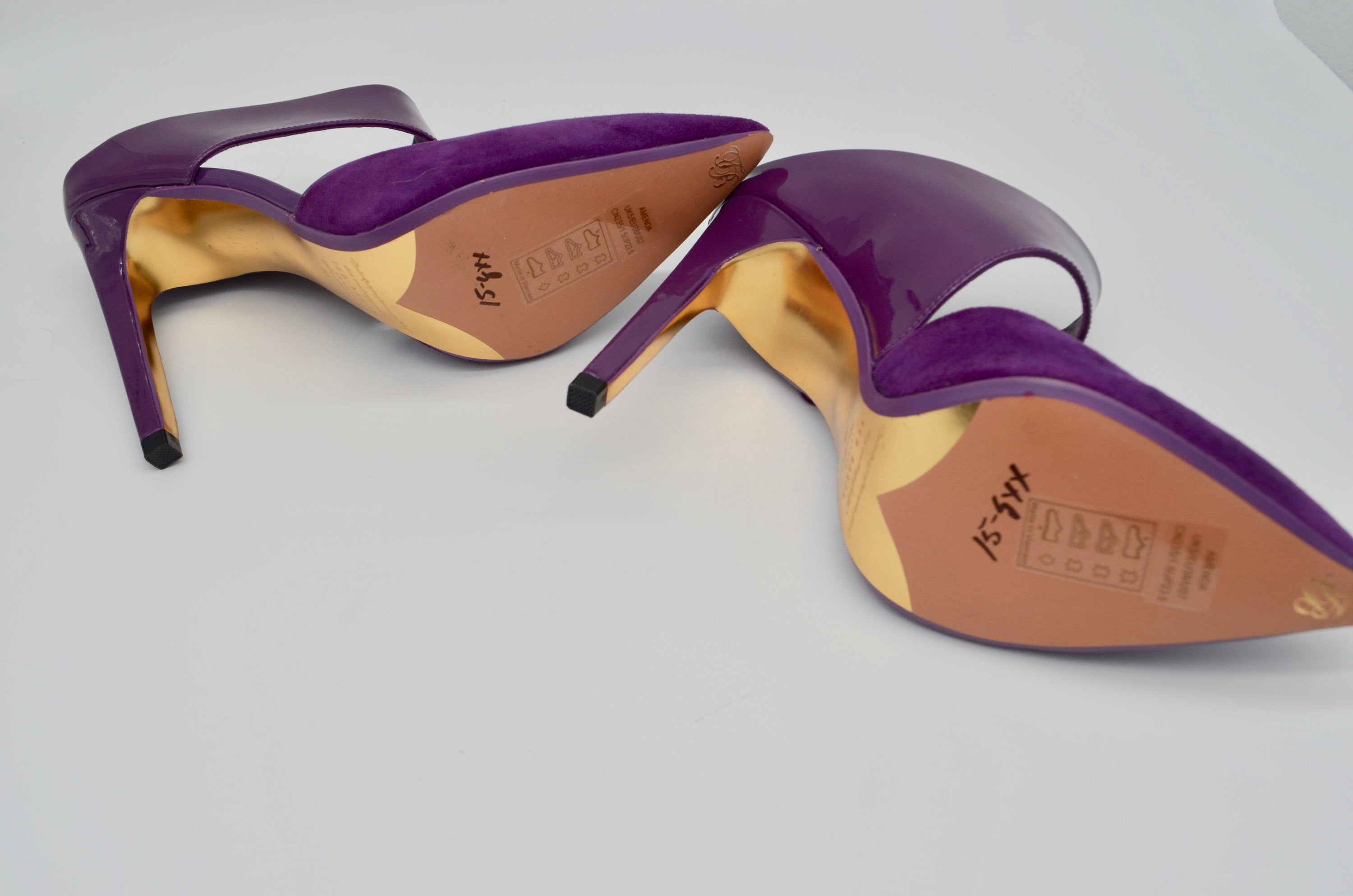 Ted Baker Purple Suede And Leather Dress Pumps High Heel Shoes Mule New Without Box