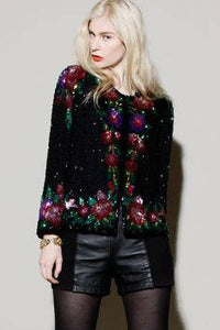 Laurence Kazar Sequined Beaded Cropped Jacket Multicolor Floral Cocktail Wedding Nye