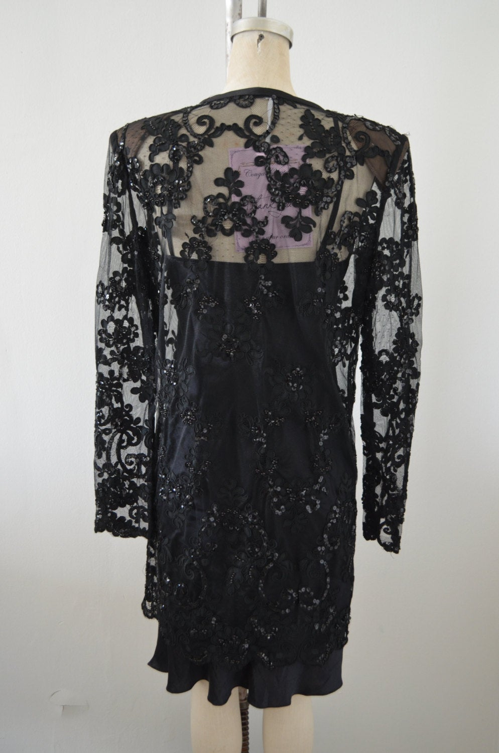 1970S Black Lace Sequined Sheer Blouse Top Dress Shirt Long Sleeve Tuxedo Bohemian Button Up