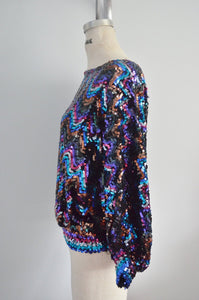 Batwing Disco Glam Sequined And Beaded Top Blouse Multicolor Style