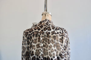 Les Copains Leopard Pussybow Sheer Blouse With Black Cami Top Twin Set Authentic
