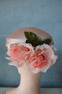 Peach Pink Satin Ladies Hats Lot Of Two Flowers/ Netting/Pillbox/Flower Wedding Bridesmaid