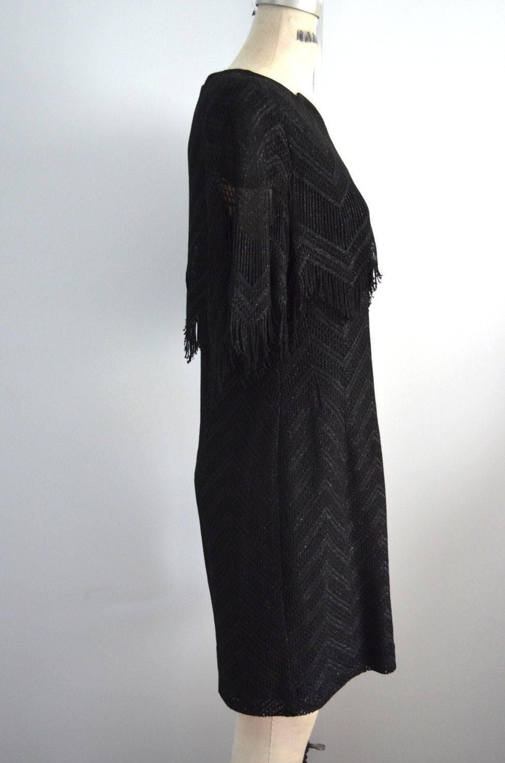 Great Gatsy Damianou Flapper Dress In Black Lace Fringe/Black Sequins Thread