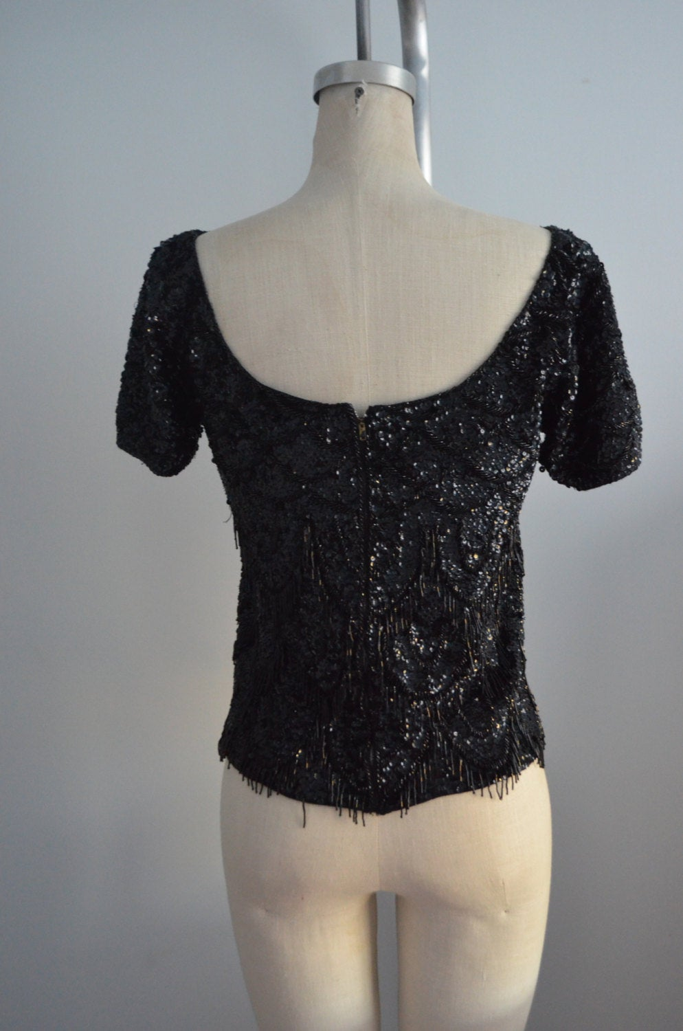 1960S Jo Ro Imports Black Sequined Beaded Fringe Top Handicraft Cropped Size M