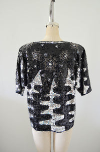 Bejeweled Top Sequined Beaded Edge Radio Frequency Wave Design Silver Black Blouse Raglan Sleeve