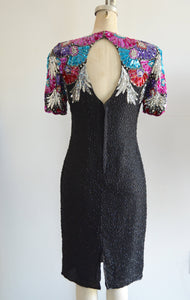 Avant Garde Black Silk Pearls Sequins Dress Stenay With Shoulder Colorful Blossom Purple Flower