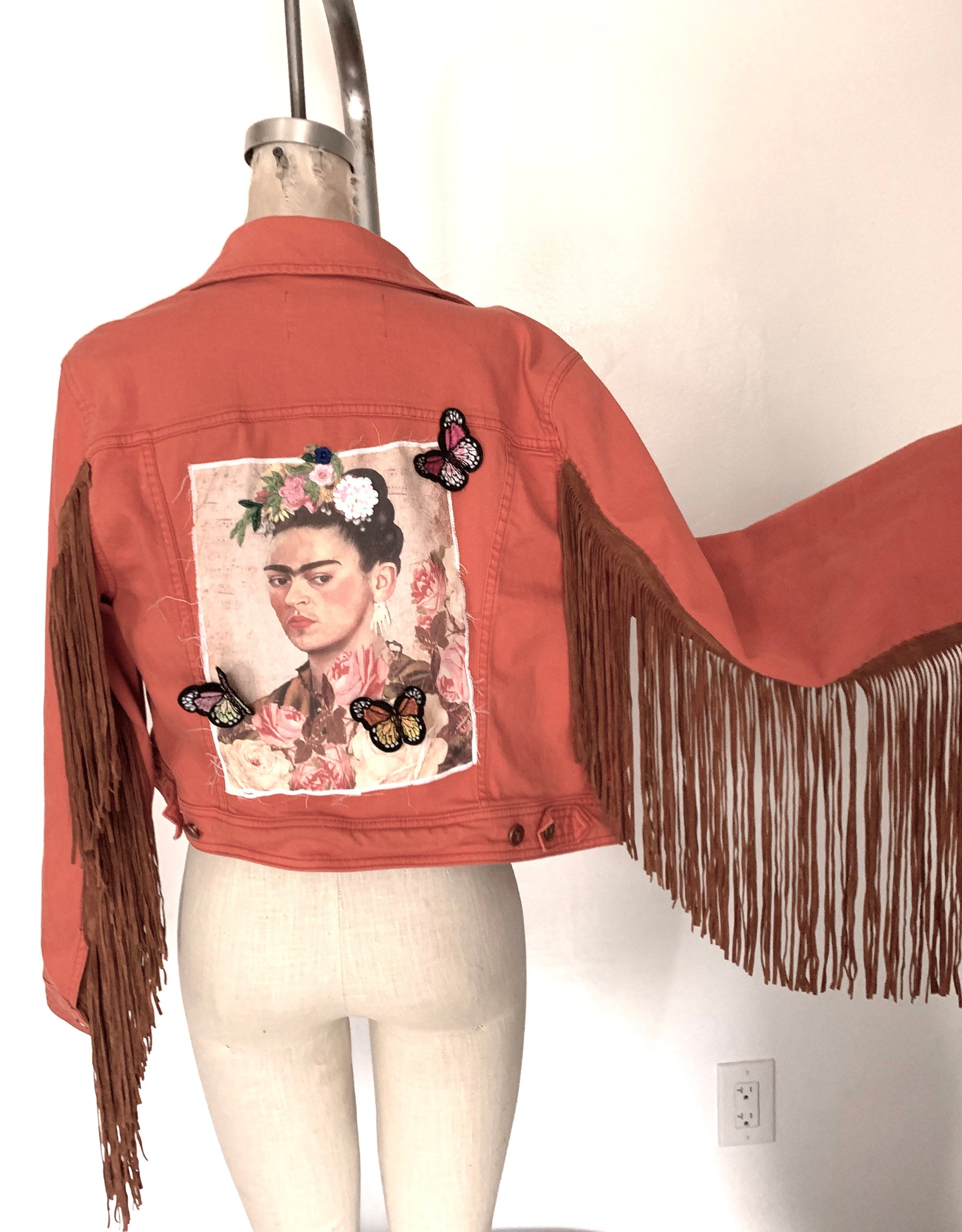 90S Denim Orange Fringe Canvas Pink Roses Cropped Jean Jacket Butterflies Patch Floral Reworked