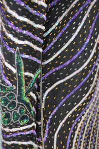 70S Bohemian Hypnotic Sequined Beaded Purple Tea Party Cocktail Wedding Dress