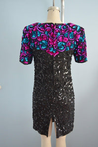 Black Silk Sequins Dress With Shoulder Colorful Details By In Fashion