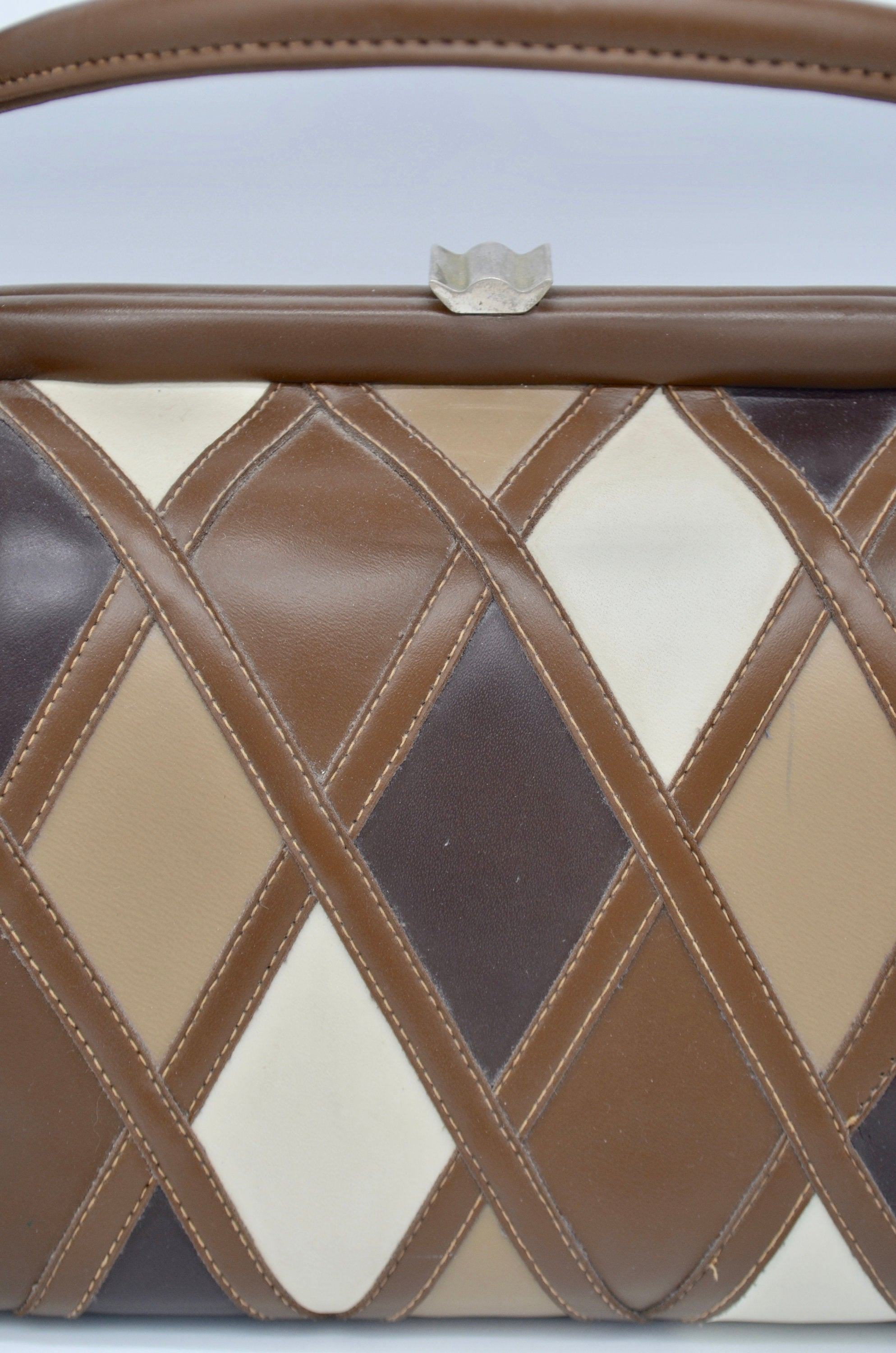 Mod Patchwork Leather Doctor Mini Purses Tan Beige Brown Dulles Bag Miniature Carry On