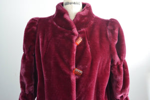Merlot Ladies Faux Fur Long Coat Jacket Merlot