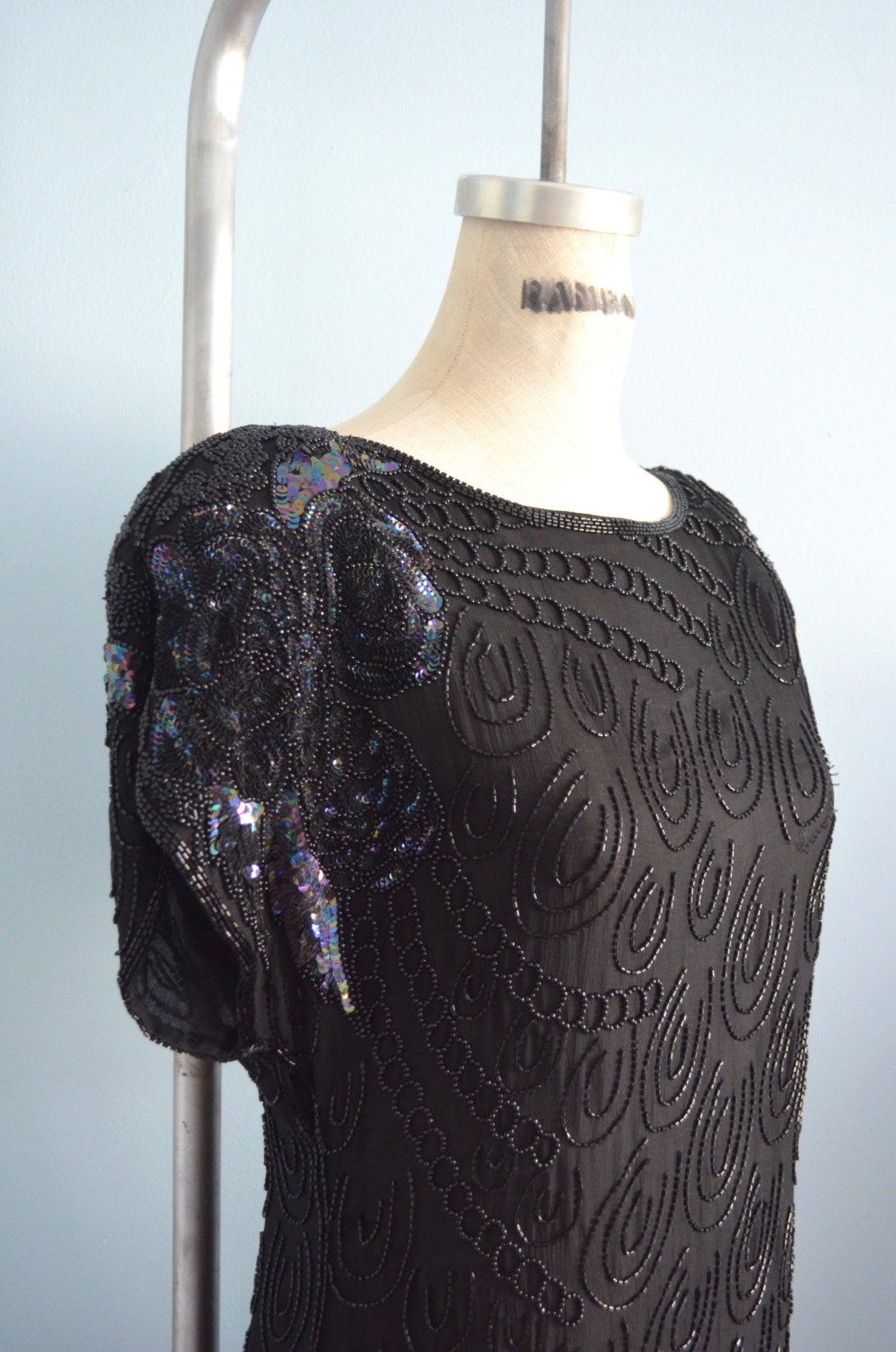 Silk Beaded Open Back Black Dress Gypsy Boho Sequined Dropped Hips