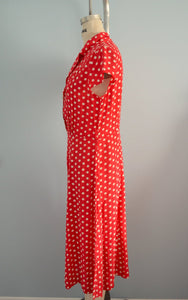 Love Lucy Dress Red With White Polka Dots Mid Length Weekend Office
