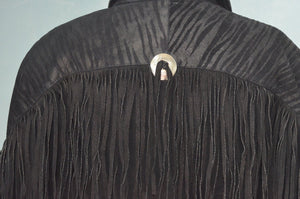 Black Suede Leather Fringe Navajo Biker Jacket
