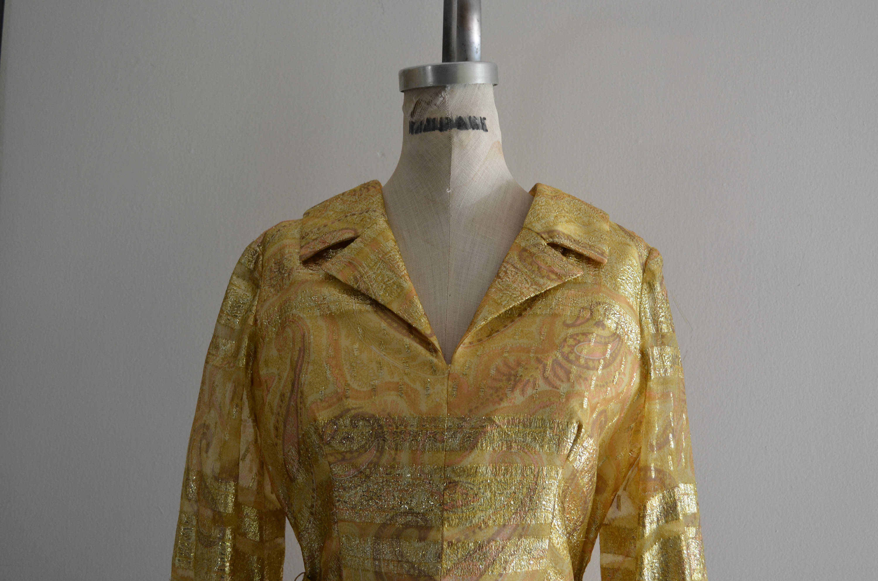 1970S Duvall's Metallic Gold Parsley Brocade Yellow Glitter Belted High Waist Midi Dress Long Sleeve