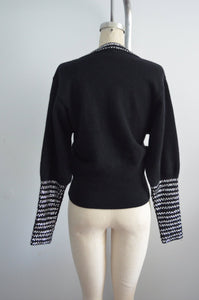 Lillie Rubin Sparkling Sequined Black Knit Long Sleeve Sweater