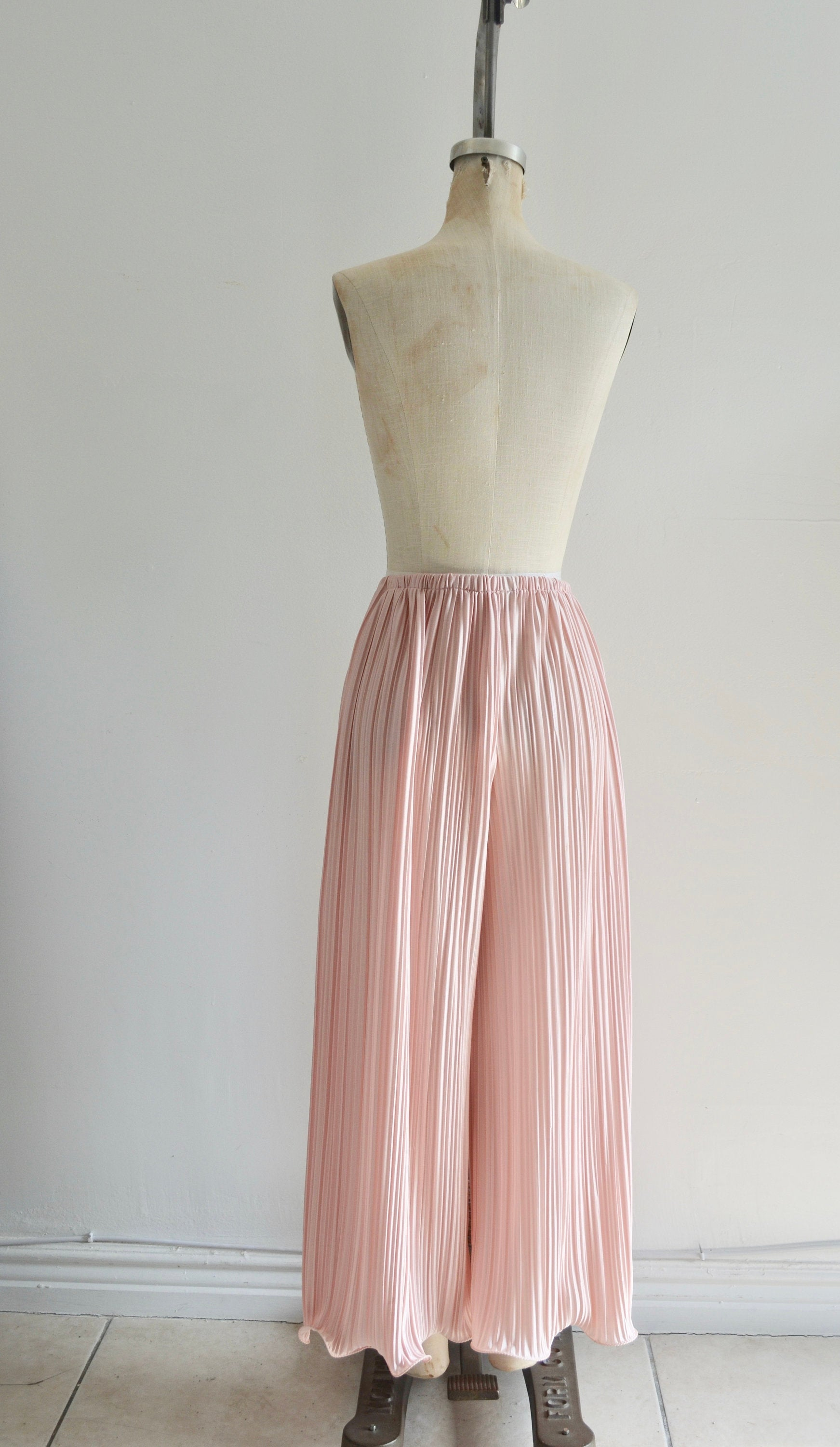 Boho 70S Pastel Salmon Pink Pleated Palazzo Pants Fashion Style Wide Bottom Trousers