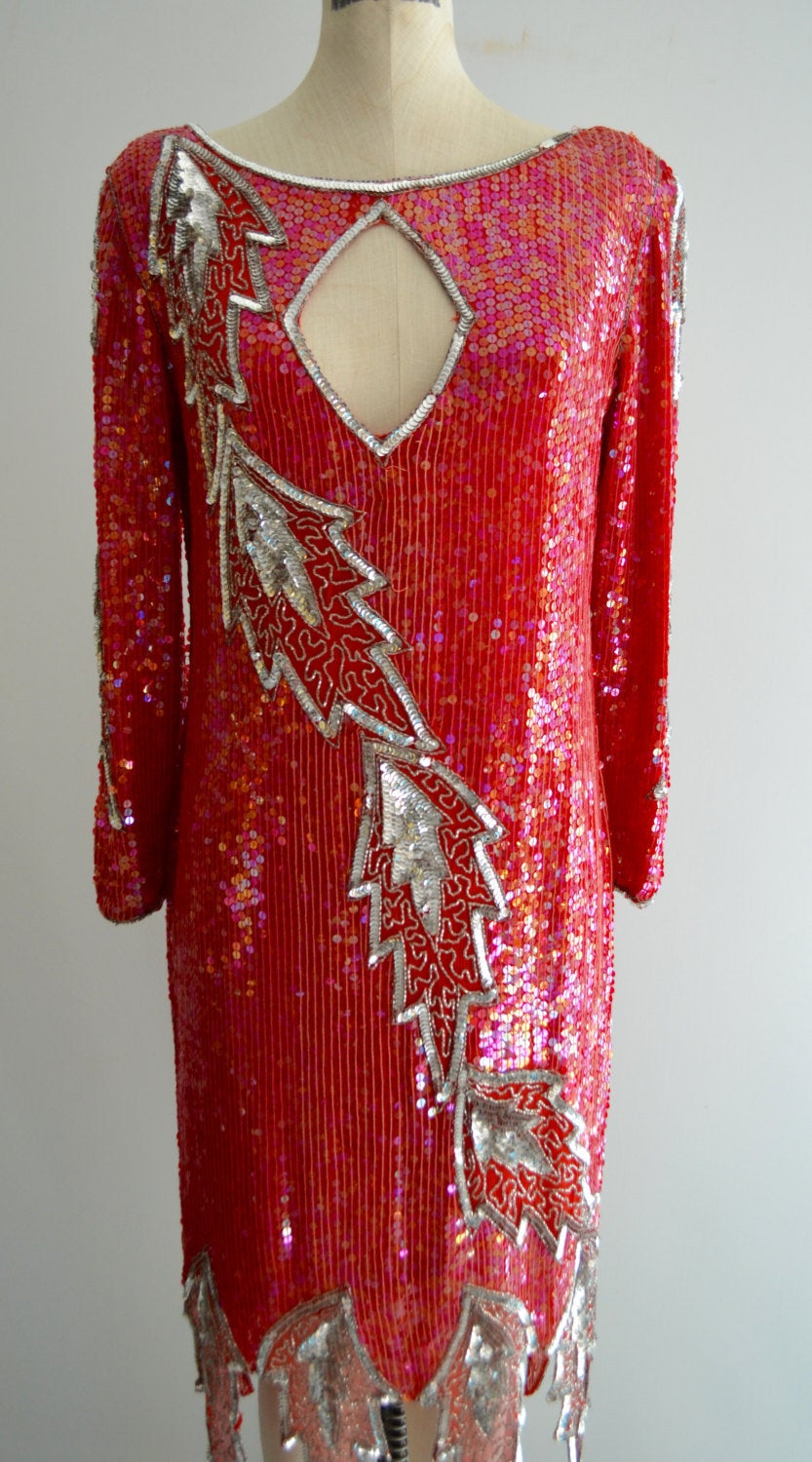 Beaded Flapper Red Valentines New York Red & Silver Sequined Leaves Mid Length Dress