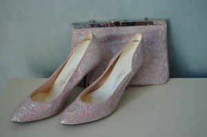 Mad Men Silver Antique Pink Brocade Wedding Stiletto Pumps Shoes And Purse Clutch Set 6 B