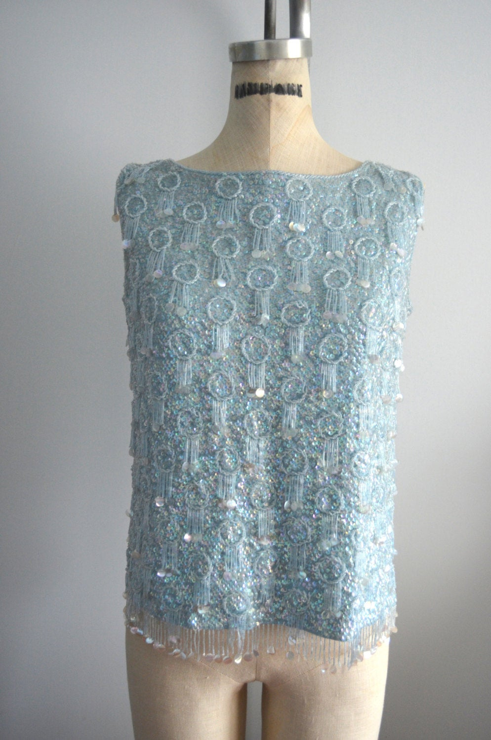 Pastel Blue Recalia Womens Blue Beaded Sequined Sweater Vest Top Blouse L