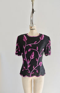 Minimalist Pink Leaf Sequins Stenay Black Scalloped Beaded Silk Top Blouse Fashion Style