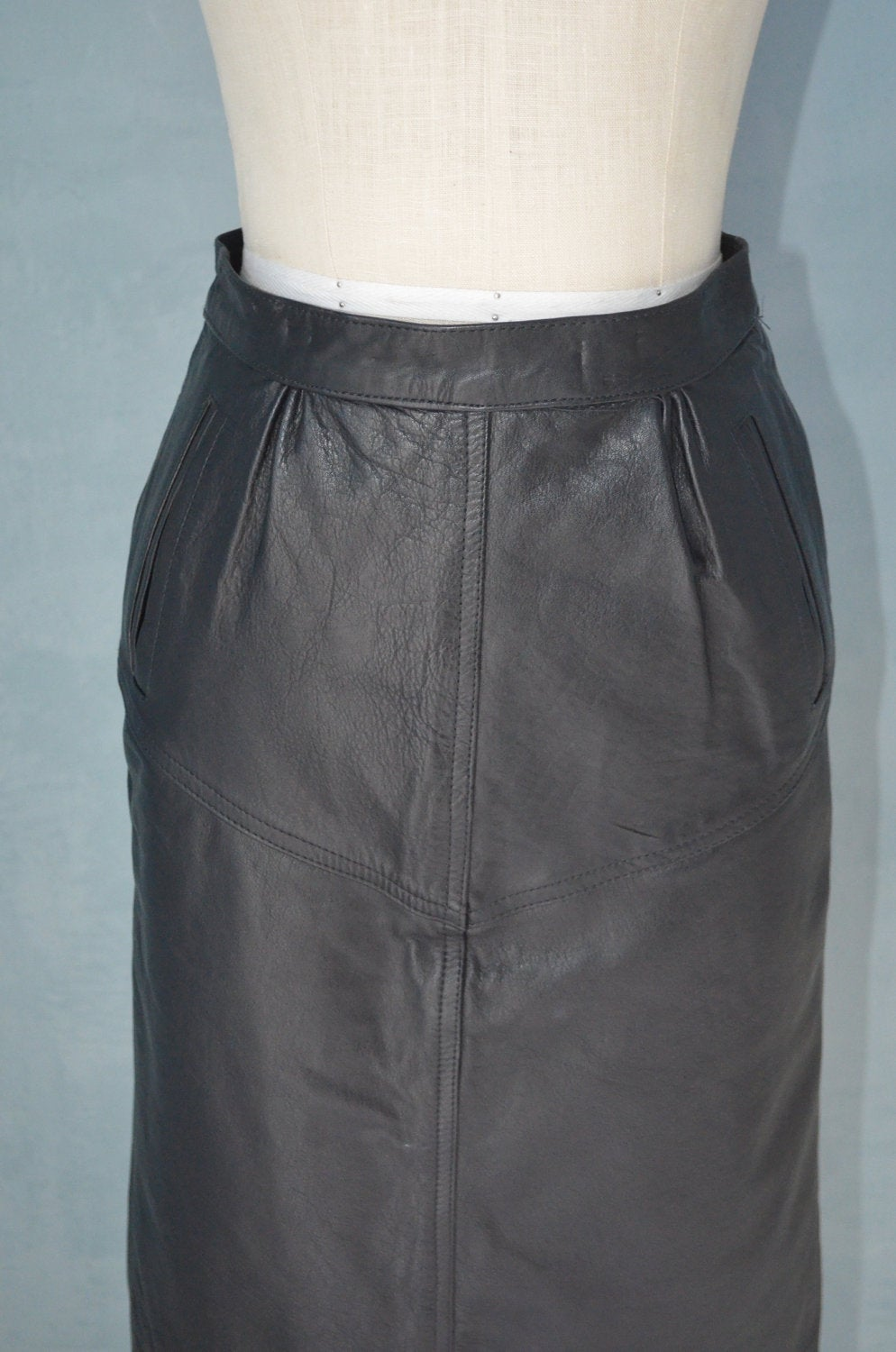 80S Italian Black Leather Pencil High Waisted Skirt