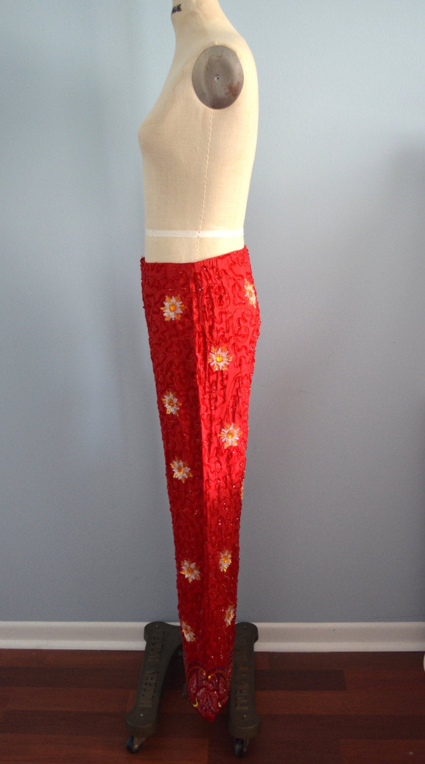 Red Sequins Paints Daizy And Paisley Beaded Embellished Silk Trousers Pants Cocktail Dress Pants