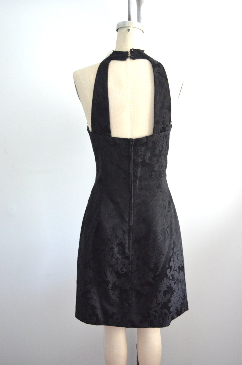 Black Brocade Dress Sweetheart Pearl Embroidered Halter Dave & Johnny Cocktail Dress
