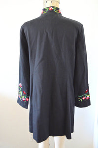 Victor Costa Black Embroidered Duster Long Asian Floral Garden Printed Jacket Coat