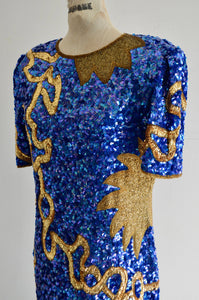 Laurence Kazar Blue Purple & Gold Sequined Silk Sun Star Dress Short Sleeve Party Cocktail Dress