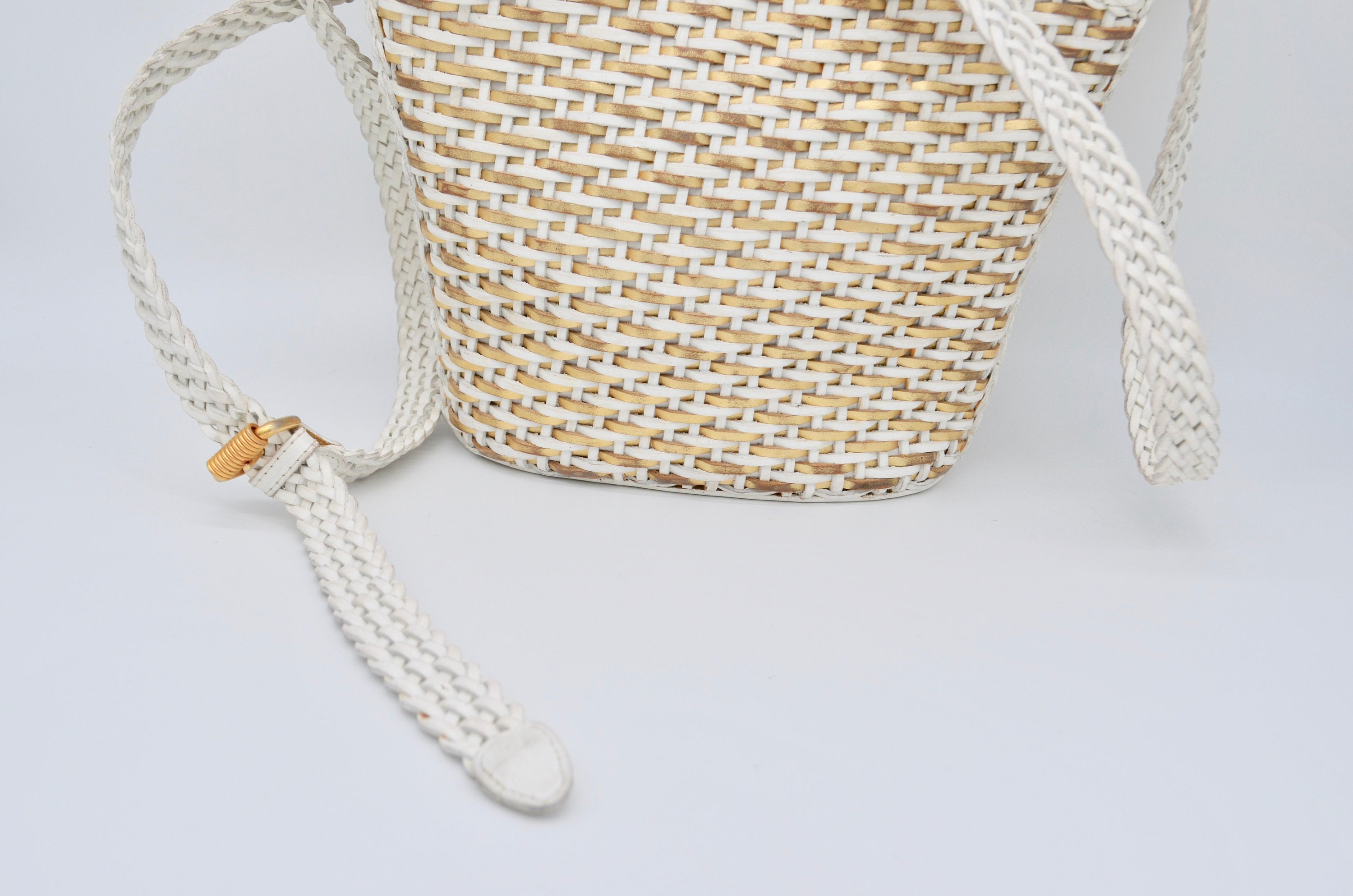 Gold/White Woven Braided Leather Cem Crossbody Handbags Brazilian Designer Bag Summer