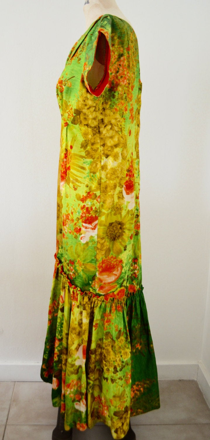 70S Elsie Krassas Designer Dress Hawaiian Watteau Train Light Green, Orange, Gold, White Floral
