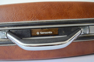 Samsonite Brown Hard Shell Suitcase Train Case Carry On Airplane Overnight Luggage Short Trips