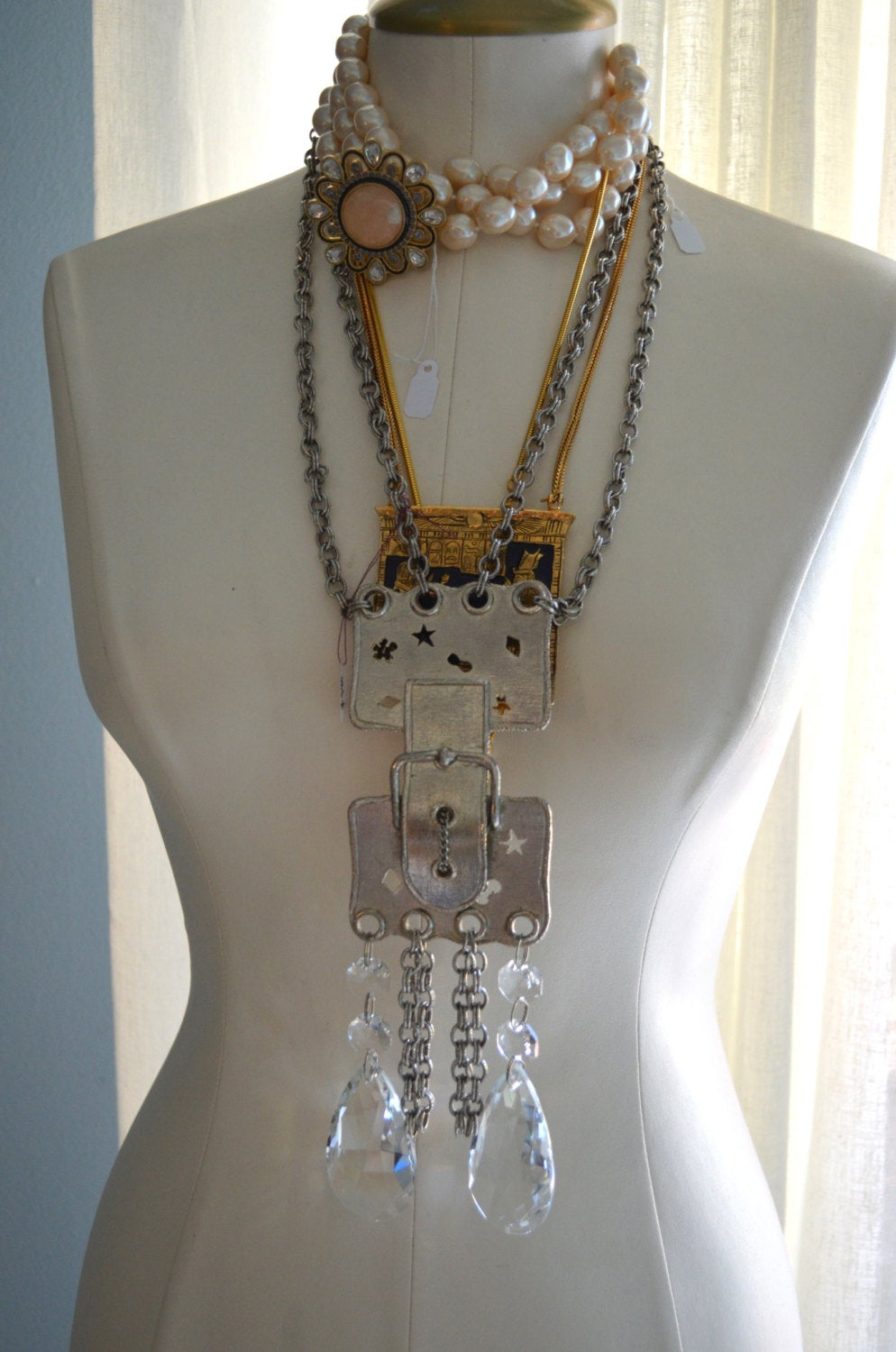 70's Silver Plated Brass Buckle Chain-Link Necklace With Tear Drop Swarovski Crystals