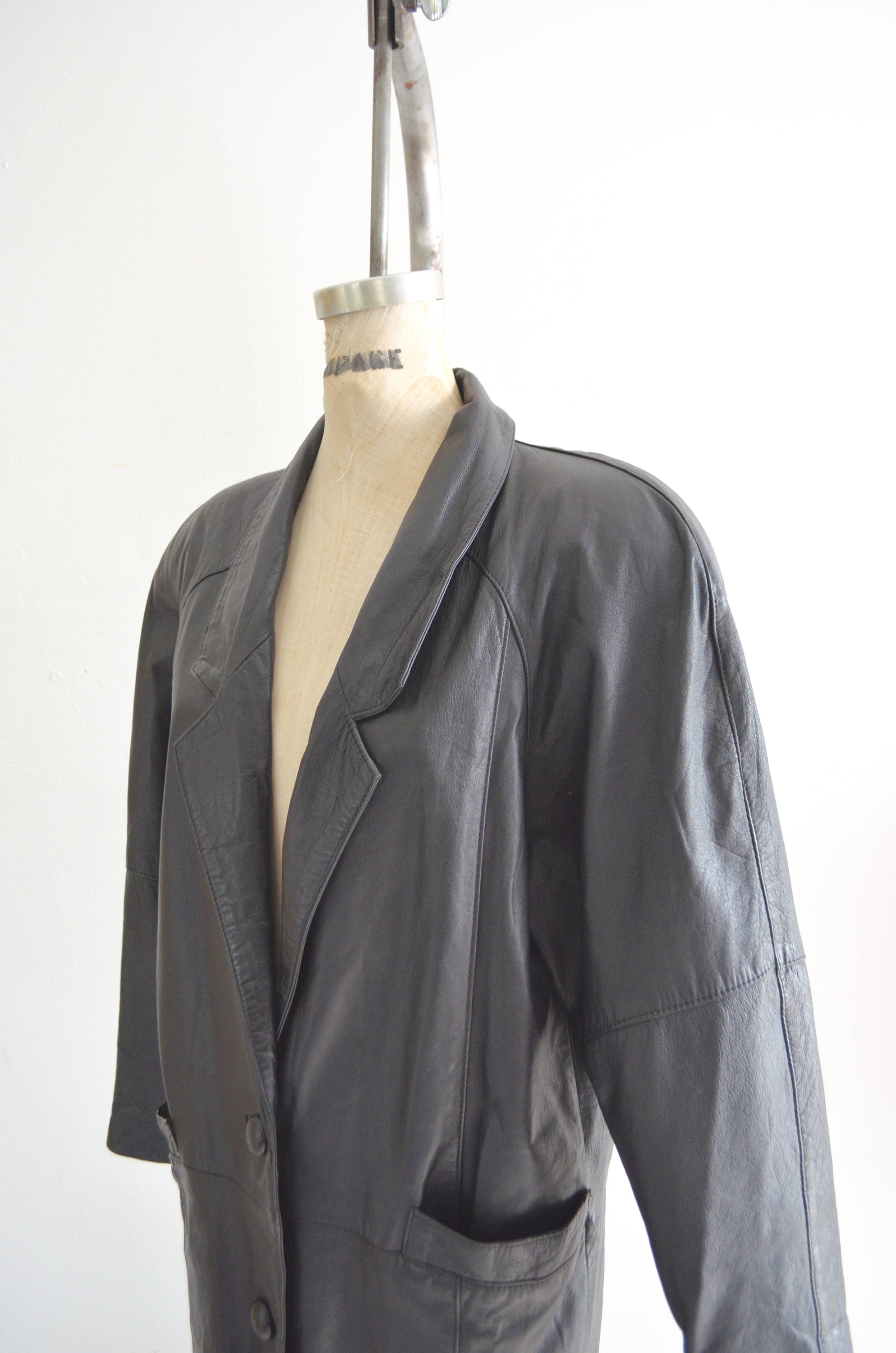 Black Leather Long Coat Outwear Trench Coat Jacket Raincoat 1980S Style Fall