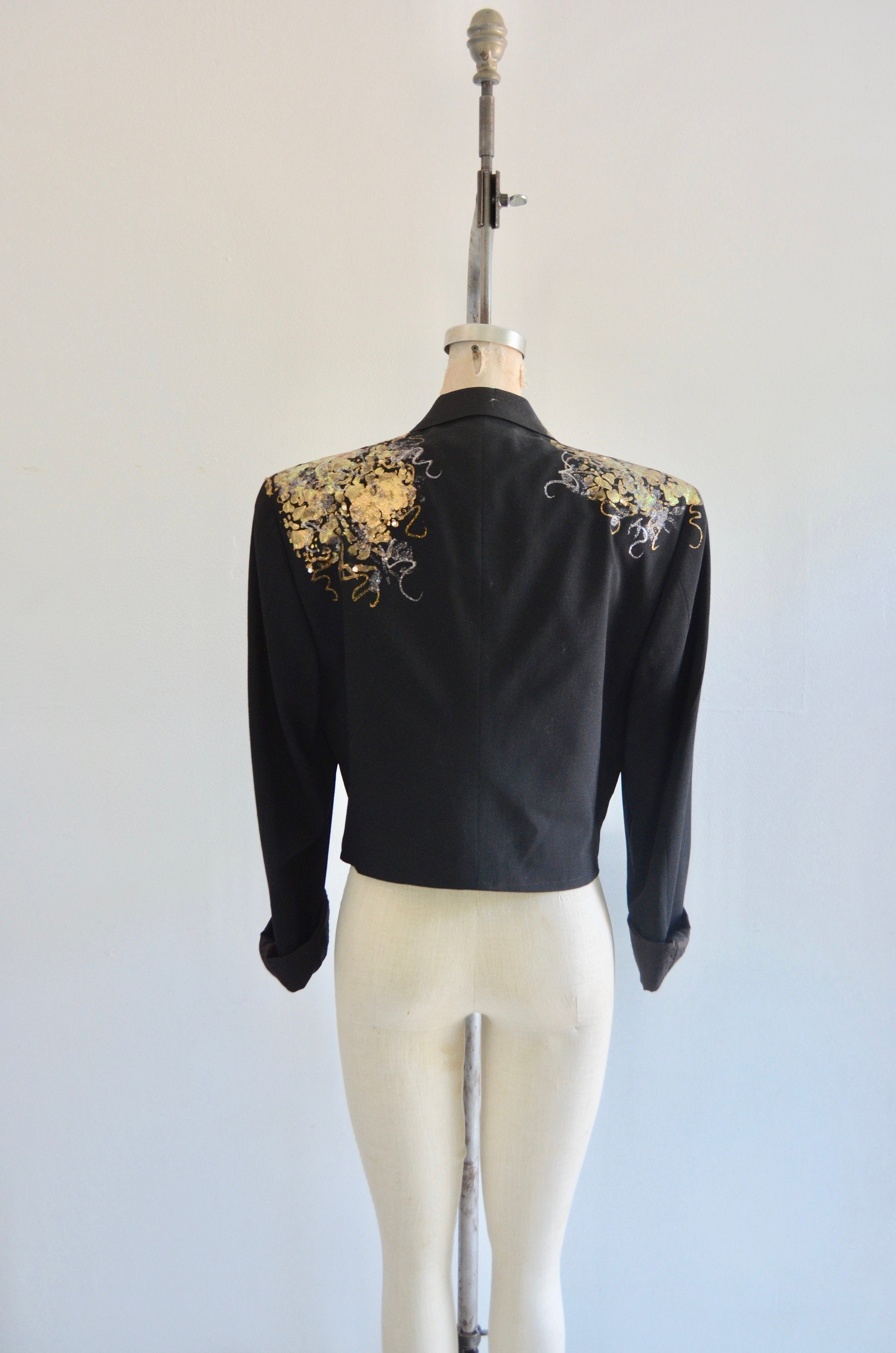 Black Cropped Tuxedo Jacket Tailored With Gold Print Design After Six Collared Formal Elegant Spring
