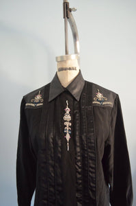 Chic Black Silk Erez Leather Crystal Embroidery Shirt Blouse Button Down Long Sleeve