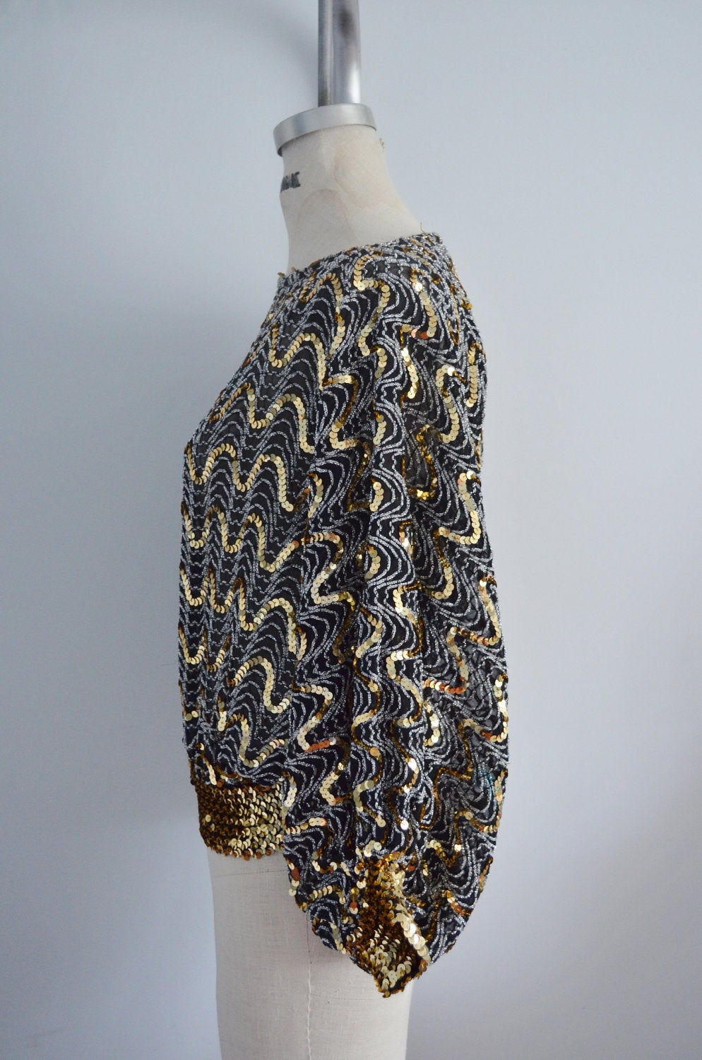 70S Glam Sequined And Beaded Batwing Disco Top Blouse Metallic Black & Gold