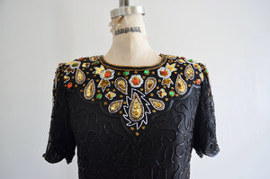 80S Denise Elle Paisley Sequined Design Beaded Silk Top Peacock Eye Jewelry Blouse Formal
