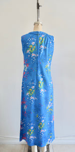 Ceeb Of Miami Label 1970S Boho Chic Cheongsam Floral Garden Blue Spring/Summer Sheath Long Dress