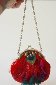 Miniature Feather Clutch Handbag Purse French 1930 New W Tags