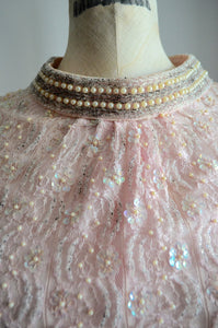 Dress Pearl Blush Pink White And Pearl Beaded Sequin Cocktail Dress Sequined Beaded Couture Gown