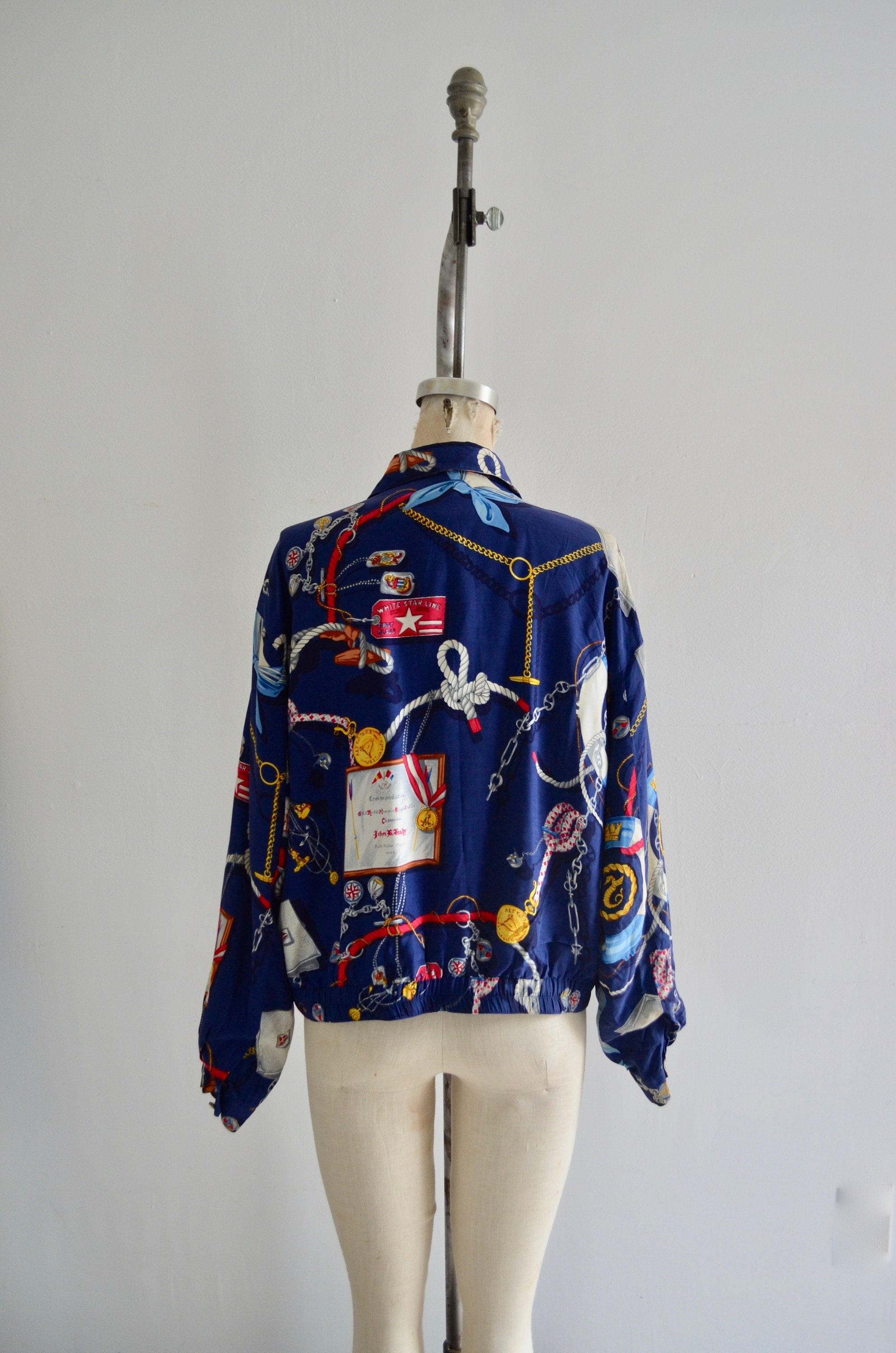 1980S Liz Claiborne Nautical Cropped Sailor Bomber Jacket Windbreaker Rare Fashion Outwear