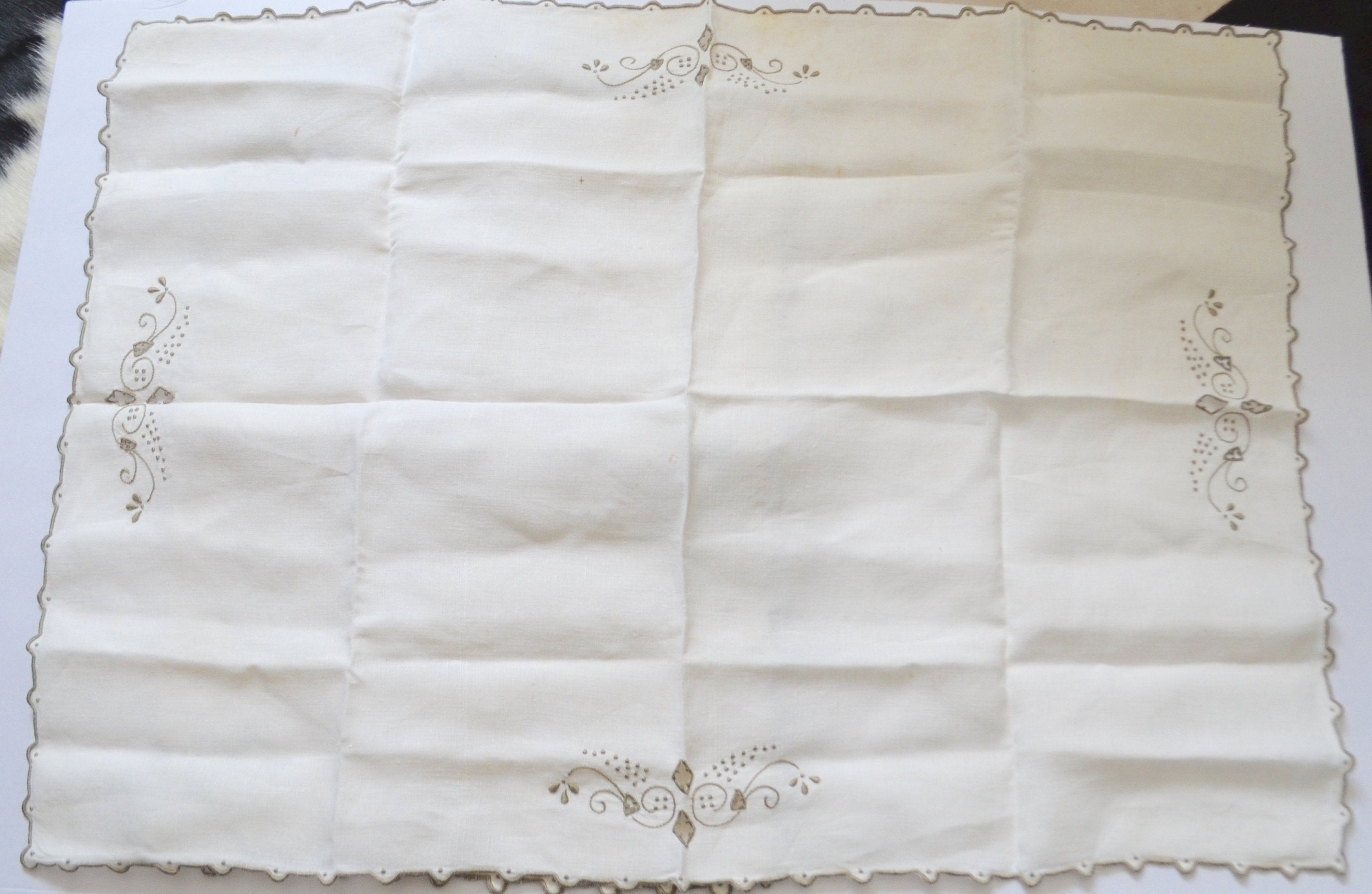 1930 Antique Ecru 8 Linen Madeira Linen Portugal Embroidered 2 Tray Cover Cloth Linen Flowers Set