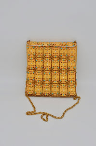 1960 French Gold Metal Lace Mesh Filigree Purse Beaded Antique Shoulder Bag